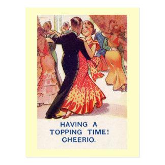 Cartão Postal Vintage elegante do romance da dança do casal
