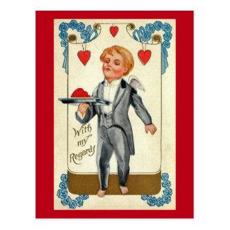 Cartão Postal Vintage elegante dos namorados do smoking do