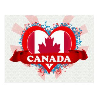 Cartão Postal Vintage eu amo Canadá