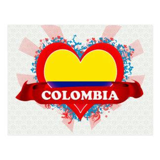 Cartão Postal Vintage eu amo Colômbia