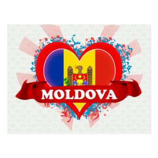 Cartão Postal Vintage eu amo Moldova