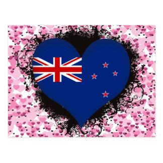 Cartão Postal Vintage eu amo Nova Zelândia