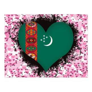 Cartão Postal Vintage eu amo Turkmenistan