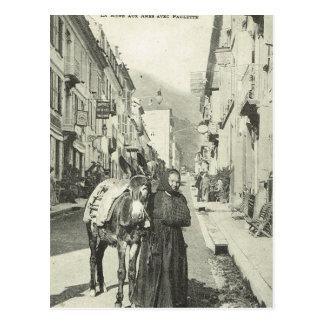 Cartão Postal Vintage France, Bareges, mulher com um asno