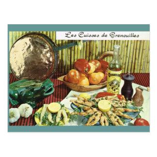 Cartão Postal Vintage France, comida, Les Cuisses de Grenouilles