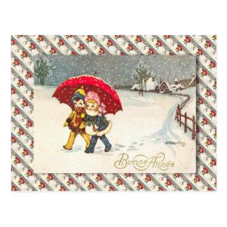 Cartão Postal Vintage France, crianças sob o guarda-chuva,