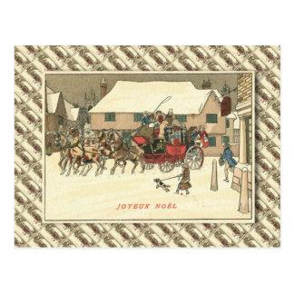 Cartão Postal Vintage France, treinador do palco na vila