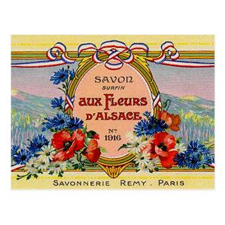 Cartão Postal Vintage francês floral bonito Fleurs auxiliar