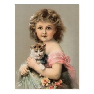 Cartão Postal Vintage gato e rapariga