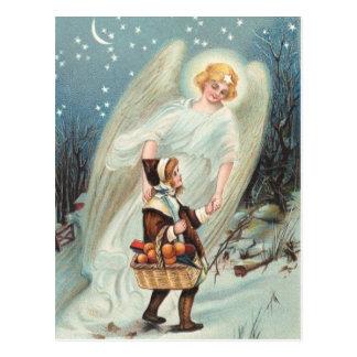 Cartão Postal Vintage gel de protecção com raparigas na neve