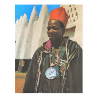 Cartão Postal Vintage Ghana da réplica, chefe tribal