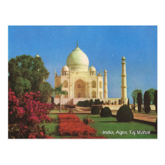 Cartão Postal Vintage, India, Agra, Taj Mahal