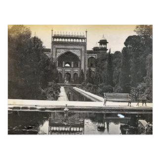 Cartão Postal Vintage India, jardins de Taj Mahal