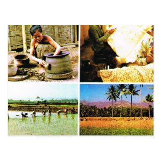 Cartão Postal Vintage Indonésia, estilo de vida do Javanese