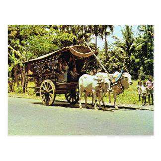 Cartão Postal Vintage Indonésia, Gerobag, Java central