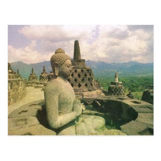 Cartão Postal Vintage Indonésia, templo de Borobodur