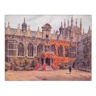 Cartão Postal Vintage Inglaterra, Oriel Faculdade, Oxford, 1925