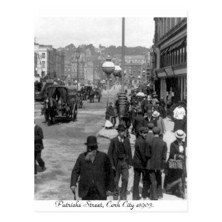 Cartão Postal Vintage Ireland, a rua de Patrick, cortiça 1903