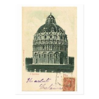 Cartão Postal Vintage Italia, 1901, Pisa, domo, Baptistry