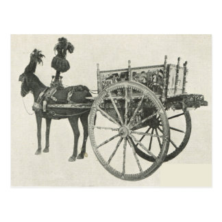 Cartão Postal Vintage Italia, Sicília, carro pintado tradicional