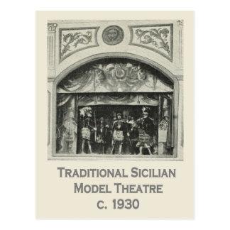 Cartão Postal Vintage Italia, Sicília, teatro modelo tradicional