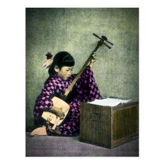 Cartão Postal Vintage japonês de Shamisen do músico da menina
