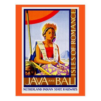Cartão Postal Vintage Java e Bali Indonésia por estradas de