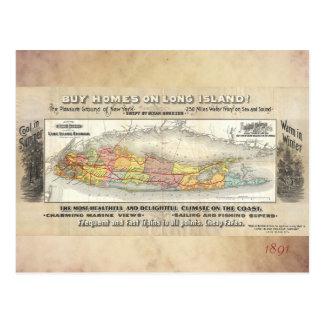 Cartão Postal Vintage Long Island, mapa de New York, estrada de