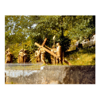 Cartão Postal Vintage Lourdes, estações da cruz