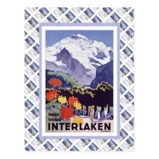 Cartão Postal Vintage Luzern Railway suíço Interlaken Brunig