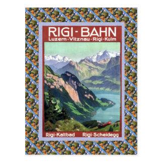Cartão Postal Vintage Luzern Railway suíço Rigi Bahn