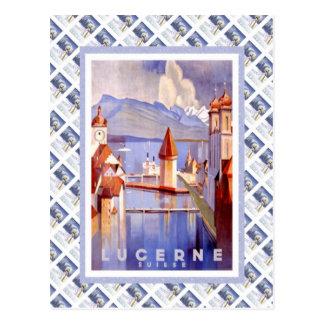 Cartão Postal Vintage Luzern Railway suíço Suisse
