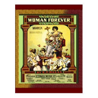 """Cartão Postal Vintage """"mulher para sempre """""""