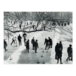 Cartão Postal Vintage Munich, inverno, jogos no gelo