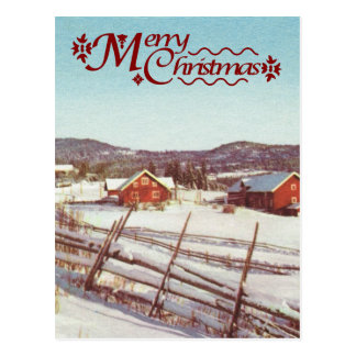 Cartão Postal Vintage Noruega, casa da quinta no Natal