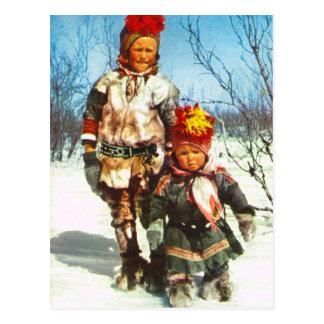 Cartão Postal Vintage Noruega, Lapland, crianças de Sami na neve