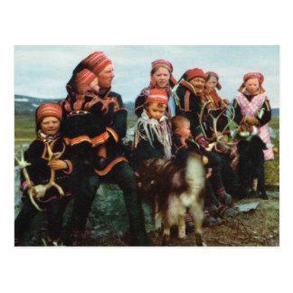 Cartão Postal Vintage Noruega, Lapland, família 1950 de Sami