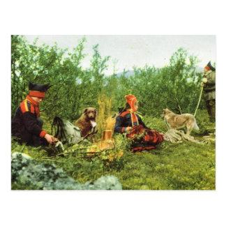 Cartão Postal Vintage Noruega, Lapland, lareira da família de