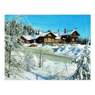Cartão Postal Vintage Noruega, neve em montanhas do inverno