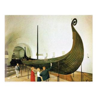 Cartão Postal Vintage Noruega, Oslo, navio de Gokstad Viking,