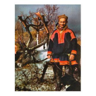Cartão Postal Vintage Noruega, Sami e sua rena