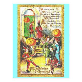 Cartão Postal Vintage o Dia das Bruxas