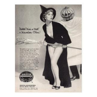 Cartão Postal Vintage original o Dia das Bruxas (anúncios do