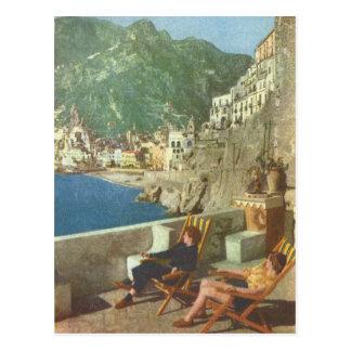 Cartão Postal Vintage os anos 30 da costa de Italia, Amalfi