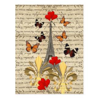 Cartão Postal Vintage Paris & borboletas