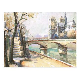 Cartão Postal Vintage Paris, Notre Dame, La Seine