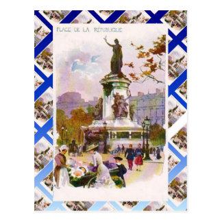 Cartão Postal Vintage Paris, Place de la Republique