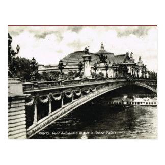 Cartão Postal Vintage Paris, Pont Alexandre III, Palais grande