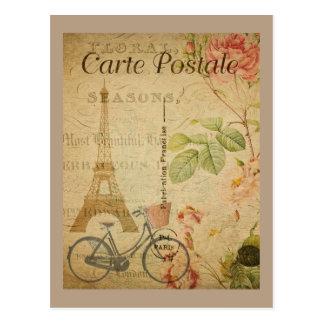 Cartão Postal Vintage parisiense com torre Eiffel