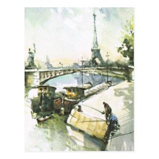 Cartão Postal Vintage pesca de Paris, Paris no Seine
